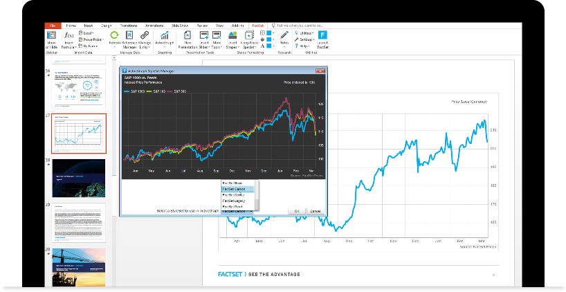 enforce brand standards with FactSet's customized style sets and presentation templates